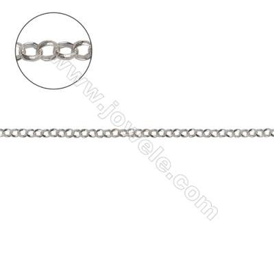 Sterling silver cross chain O chain for jewelry making-H8S12 diameter 2.5mm thick 0.7mm x 1meter