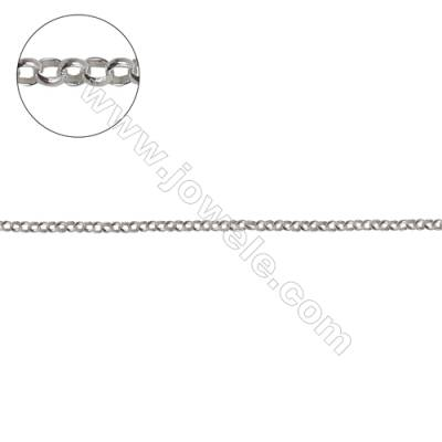 Sterling silver cross chain O chain jewelry findings-H8S13 diameter1.5mm thick 0.4mm x 1meter