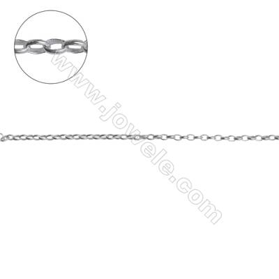 Sterling silver oval cross chain-H8S16 size 1.7x2.5x0.6mm x 1meter