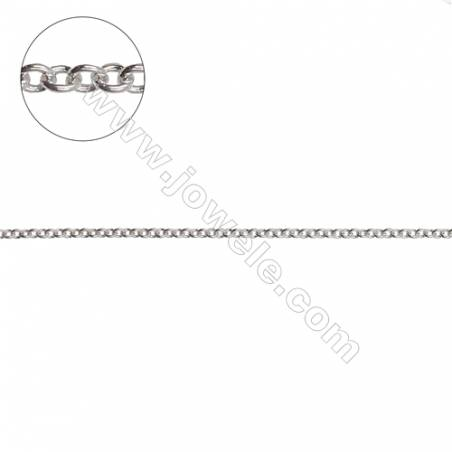 925 sterling silver cross chain rolo chain jewelry findings-H8S1 size 1.6x1.9mm thick 0.3mm x 1meter