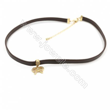 Leather Cord Choker Necklaces, with Golden Brass Bowknot Pendant Pave Cubic Zirconia, Brown, Length 316mm, Width 6mm, x1