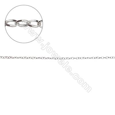 925 sterling silver cross chain rolo chain jewelry findings-H8S2 size 1.6x1.2mm thick 0.25mm x 1meter