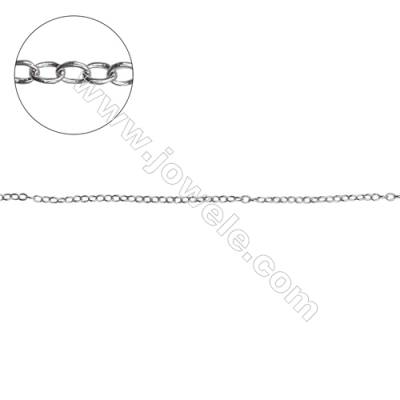 925 sterling silver cross chain O chain jewelry findings-H8S3 size 1.6x1.2mm thick 0.3mm x 1meter