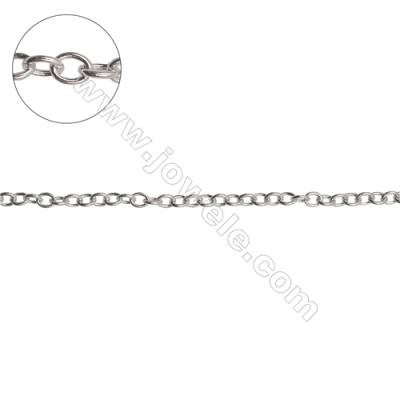 925 sterling silver cross chain rolo chain jewelry findings-H8S4 size 3.6x4.5mm thick 0.3mm x 1meter
