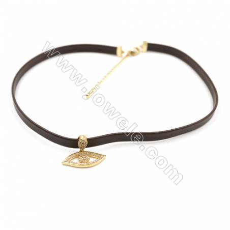 Leather Cord Choker Necklaces, with Golden Brass Eyes Pendant Pave Cubic Zirconia, Brown, Length 316mm, Width 6mm, x1
