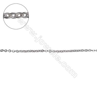 Sterling silver flat cable chain cross chain-H8S6 size 2.1x2.4mm thick 0.5mm x 1metre