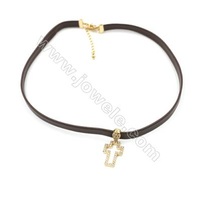 Leather Cord Choker Necklaces, with Golden Brass Cross Pendant Pave Cubic Zirconia, Brown, Length 316mm, Width 6mm, x1