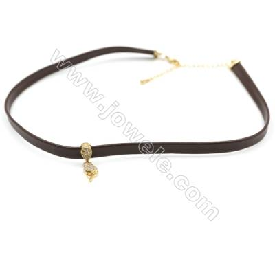 Leather Cord Choker Necklaces with Golden Brass Cubic Zirconia Ross Pendants  Brown  Pendant 13x6mm  Length 316mm  Width 6mm  x1