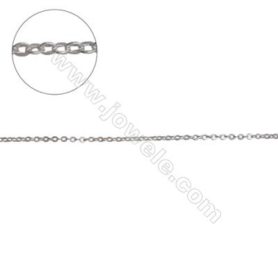 Sterling silver flat cable chain cross chain-H8S7 size 1.25x1.5mm thick 0.3mm x 1metre
