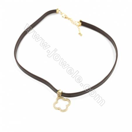 Leather Cord Choker Necklaces, with Golden Brass Clover Pendant Pave Cubic Zirconia, Brown, Length 316mm, Width 6mm, x1