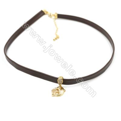 Leather Cord Choker Necklaces, with Golden Brass Dolphin Pendant Pave Cubic Zirconia, Brown, Length 316mm, Width 6mm, x1