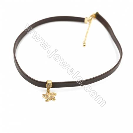 Leather Cord Choker Necklaces, with Golden Brass Starfish Pendant Pave Cubic Zirconia, Brown, Length 316mm, Width 6mm, x1