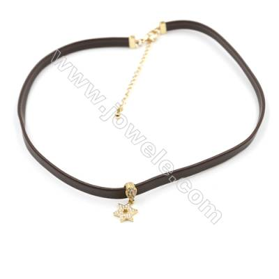 Leather Cord Choker Necklaces with Golden Brass Cubic Zirconia Star Pendants  Brown  Pendant 12x9mm  Length 316mm  Width 6mm  x1
