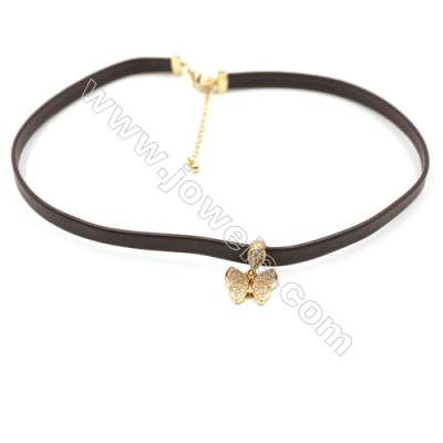 Leather Cord Choker Necklaces, with Golden Brass Butterfly Pendant Pave Cubic Zirconia, Brown, Length 316mm, Width 6mm, x1