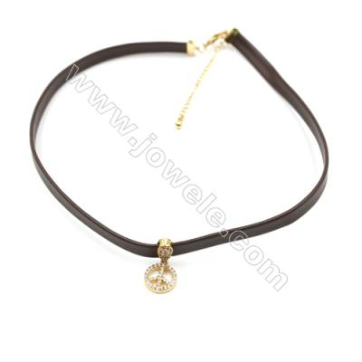 Leather Cord Choker Necklaces, with Golden Brass Peace Sign Pendant Pave Cubic Zirconia, Brown, Length 316mm, Width 6mm, x1