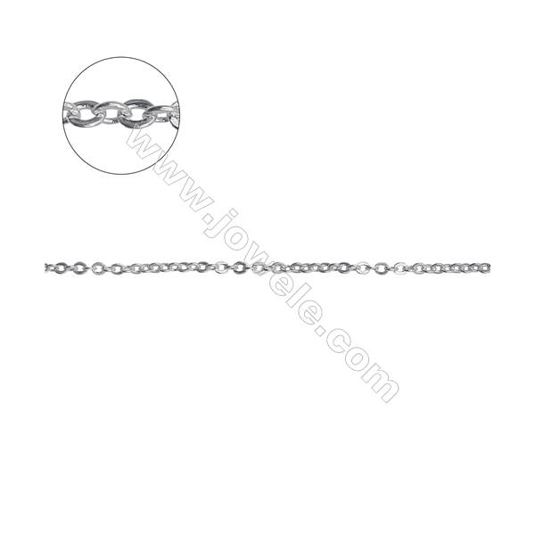 Sterling silver flat cable chain cross chain-H8S10 size 1.7x2.0mm thick 0.4mm x 1metre