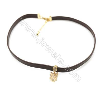Leather Cord Choker Necklaces, with Golden Brass Arrow Pendant Cubic Zirconia, Brown, Length 316mm, Width 6mm, x1