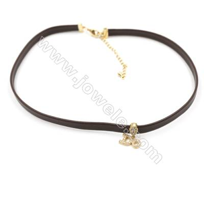 "Leather Cord Choker Necklaces with Golden Brass Cubic Zirconia ""DO"" Pendants  Brown  Pendant 12x8mm  Length 316mm  Width 6mm  x1"