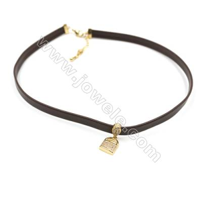 Leather Cord Choker Necklaces, with Golden Brass Cubic Zirconia Lock Pendants, Brown, Length 316mm, Width 6mm, x1