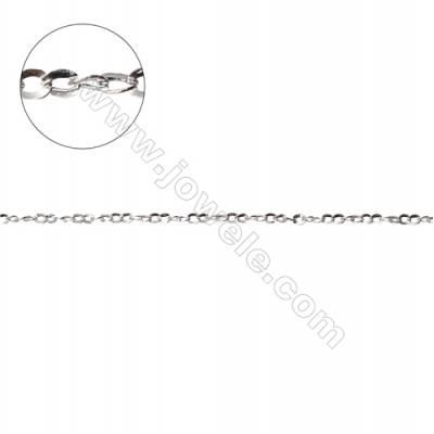 Sterling silver flat cable chain twisted cross chain-G8S4 size 1.6x2.0mm thick about 0.35mm x 1metre
