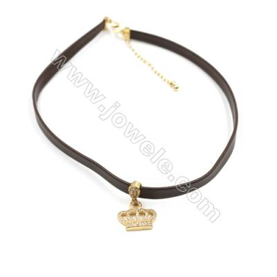 Leather Cord Choker Necklaces, with Golden Brass Crown Pendant Pave Cubic Zirconia, Brown, Length 316mm, Width 6mm, x1