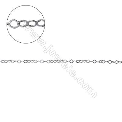 Sterling silver flat rhombus chain jewelry findings-G8S1 size 2.2x2.6mm thick about 0.35mm x 1metre