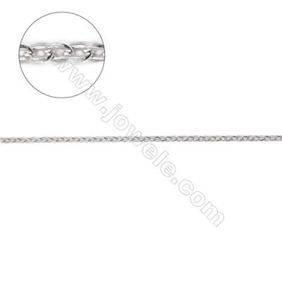 Sterling silver flat cable chain jewelry findings cross chain-G8S5 size 1.55x2.0mm thick about 0.4mm x 1metre
