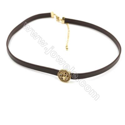 Leather Cord Choker Necklaces, with Round Golden Brass Charms Pave Cubic Zirconia, Brown, Length 316mm, Width 6mm, x1