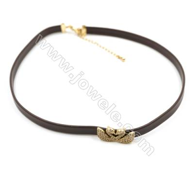 Leather Cord Choker Necklaces, with Couple Swan Golden Brass Charms Pave Cubic Zirconia, Brown, Length 316mm, Width 6mm, x1