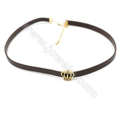 Leather Cord Choker Necklaces, with Crown Golden Brass Charms Pave Cubic Zirconia, Brown, Length 316mm, Width 6mm, x1