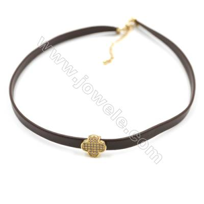 Leather Cord Choker Necklaces, with Clover Golden Brass Charms Pave Cubic Zirconia, Brown, Length 316mm, Width 6mm, x1