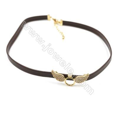 Leather Cord Choker Necklaces, with Angel Wings Golden Brass Charms Pave Cubic Zirconia, Brown, Length 316mm, Width 6mm, x1