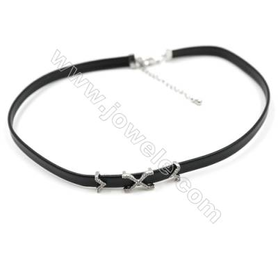 Leather Cord Choker Necklaces, with X Word Golden Brass Charms Pave Cubic Zirconia, Black, Length 316mm, Width 6mm, x1