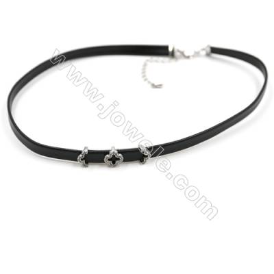 Leather Cord Choker Necklaces, with Clover Platinum Brass Charms Pave Cubic Zirconia, Black, Length 316mm, Width 6mm, x1