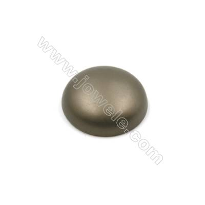 Eletroplating Brown Matte Shell Pearl Half-drilled Beads  Round (Flat back face)  Diameter 30mm  Hole 1mm  8pcs/pack