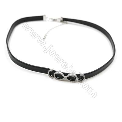 Leather Cord Choker Necklaces, with Digit 8 Platinum Brass Charms Pave Cubic Zirconia, Black, Length 316mm, Width 6mm, x1