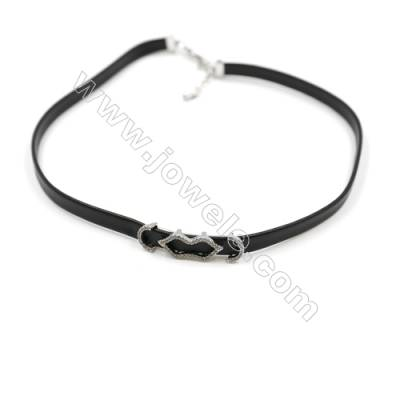 Leather Cord Choker Necklaces, with Lips Platinum Brass Charms Pave Cubic Zirconia, Black, Length 316mm, Width 6mm, x1