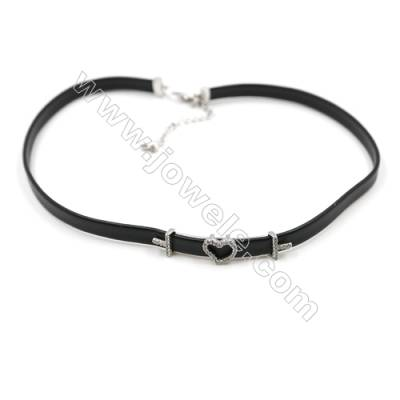 Leather Cord Choker Necklaces, with Heart Platinum Brass Charms Pave Cubic Zirconia, Black, Length 316mm, Width 6mm, x1