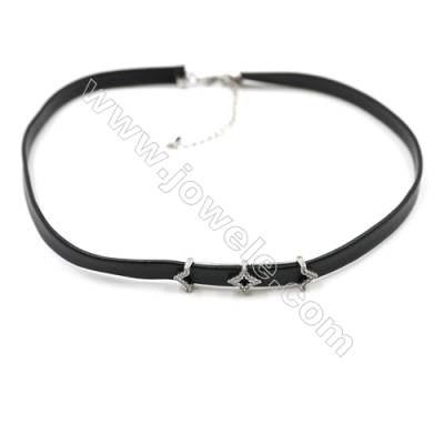 Leather Cord Choker Necklaces, with Polaris Platinum Brass Charms Pave Cubic Zirconia, Black, Length 316mm, Width 6mm, x1