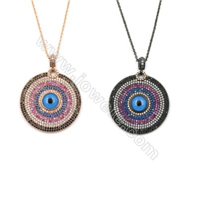 Round Brass Cubic Zirconia Pendant Necklaces, with Brass Chain, Chain 430mm, Pendant 31mm, x1