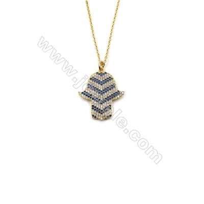 Hand Shape Brass Cubic Zirconia Pendants Necklaces with Brass Chain, (Golden) Plated, Chain 450mm, Pendant 21x23mm, x1