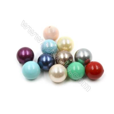 Eletroplating Colorful Shell Pearl Half-drilled Beads  Round  Diameter 14mm  Hole 1mm  40pcs/pack