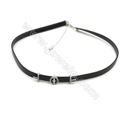 Leather Cord Choker Necklaces, with Round Platinum Brass Charms Pave Cubic Zirconia, Black, Length 316mm, Width 6mm, x1