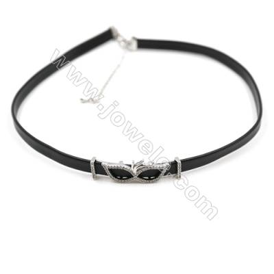 Leather Cord Choker Necklaces, with Platinum Brass Charms Pave Cubic Zirconia, Black, Length 316mm, Width 6mm, x1
