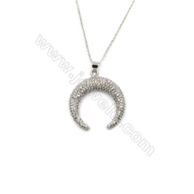 Moon Brass Cubic Zirconia Pendants Necklaces with Brass Chain, Chain 430mm, Pendant 28x29mm, x1