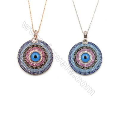 Round Brass Pendant Pave Colorful Cubic Zirconia Necklaces, Chain 430mm, Pendant 31mm, x1