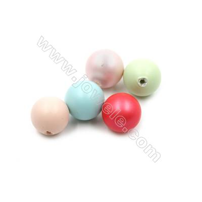 Eletroplating Colorful Shell Pearl Half-drilled Beads  Round(Matte)  Diameter 10mm  Hole 1mm  65pcs/pack