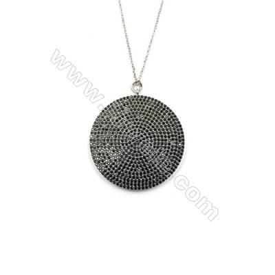 Round Brass Cubic Zirconia Pendants Necklaces, with Brass Chain, (Platinum) Plated, Chain 440mm, Pendant 36mm, x1