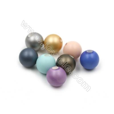 Eletroplating Colorful Shell Pearl Half-drilled Beads  Round(Matte)  Diameter 14mm  Hole about 3mm  20pcs/pack