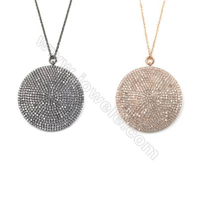 Round Brass Cubic Zirconia Pendants Necklaces with Brass Chain, Chain 420mm, Pendant 36mm, x1